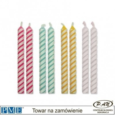 Candles- Striped Blue- 1.9''-24pcs-PME_CA034