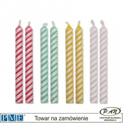 Candles- Striped Blue- 2.3''-24pcs-PME_CA033