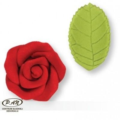Cukrowa róża z listkami-5szt.-PME_PM142PI