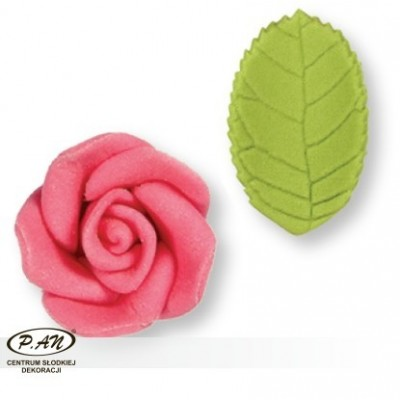 Cukrowa róża z listkami - biała- 5szt.- PME_PM142W
