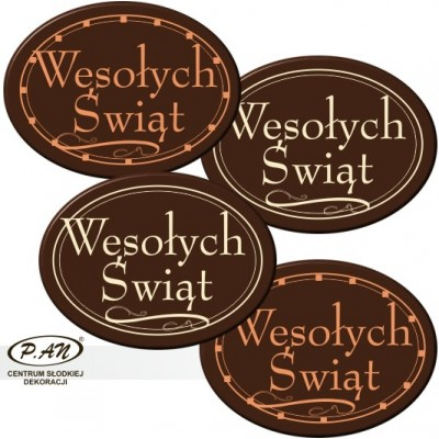 copy of Merry Christmas oval 40mm 80pcs DCN117