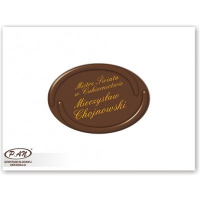 Chocolate logos with pressed border - oval 5,5 x 4 cm -...