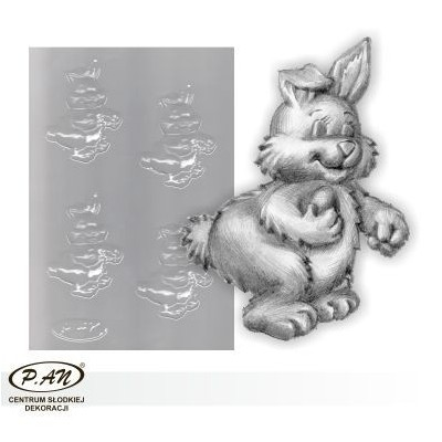 Flexible plastic moulds - Easter Bunny with Egg 10cm FP1007