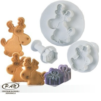 NEW!Plastic cutters - 'Rudolf' 3 pcs