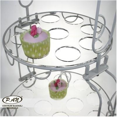 Talerz plexi do cupcaków z chromowana obręczą