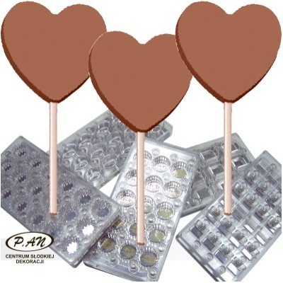 Mould for heart lollipops with imprint