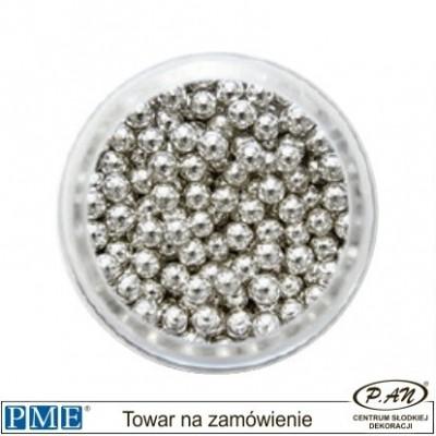 Cukrowe perełki - srebrne- 3mm - 25g -PME_SPS950